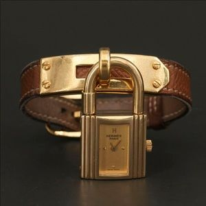 Vintage Hermès Kelly Watch Brown and Gold